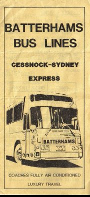 Batterham's Bus Lines flier