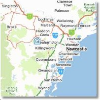 Kitchener NSW, an hour from Newcastle, and around 15 minutes to the Hunter Valley Vineyards.